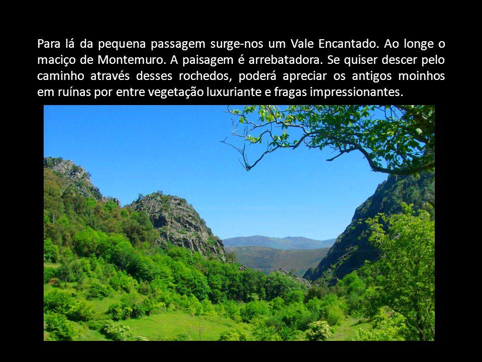 Para lá da pequena passagem surge-nos um Vale Encantado. Ao longe o maciço de Montemuro. A paisagem é arrebatadora. Se quiser descer pelo caminho atra