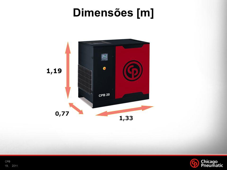 19. CPB 2011 Área 1m² 1,33 0,77 1,19 Dimensões [m] Volume 1,2m³