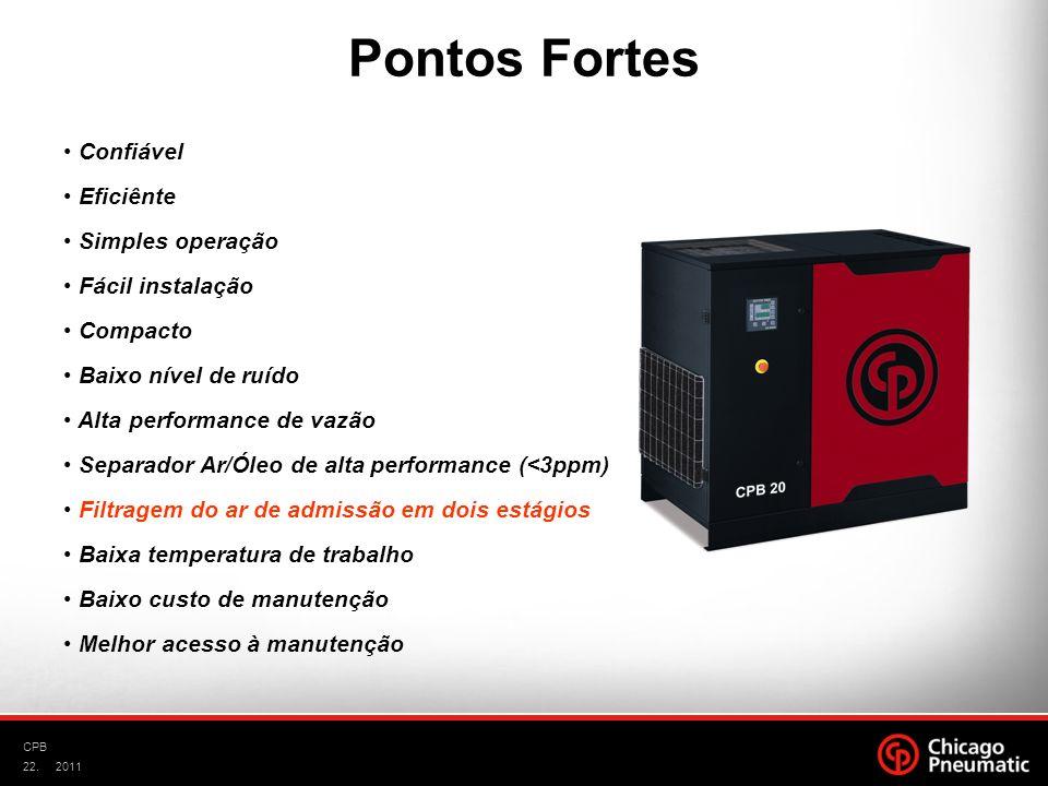 22. CPB 2011 Confiável Eficiênte Simples operação Fácil instalação Compacto Baixo nível de ruído Alta performance de vazão Separador Ar/Óleo de alta p