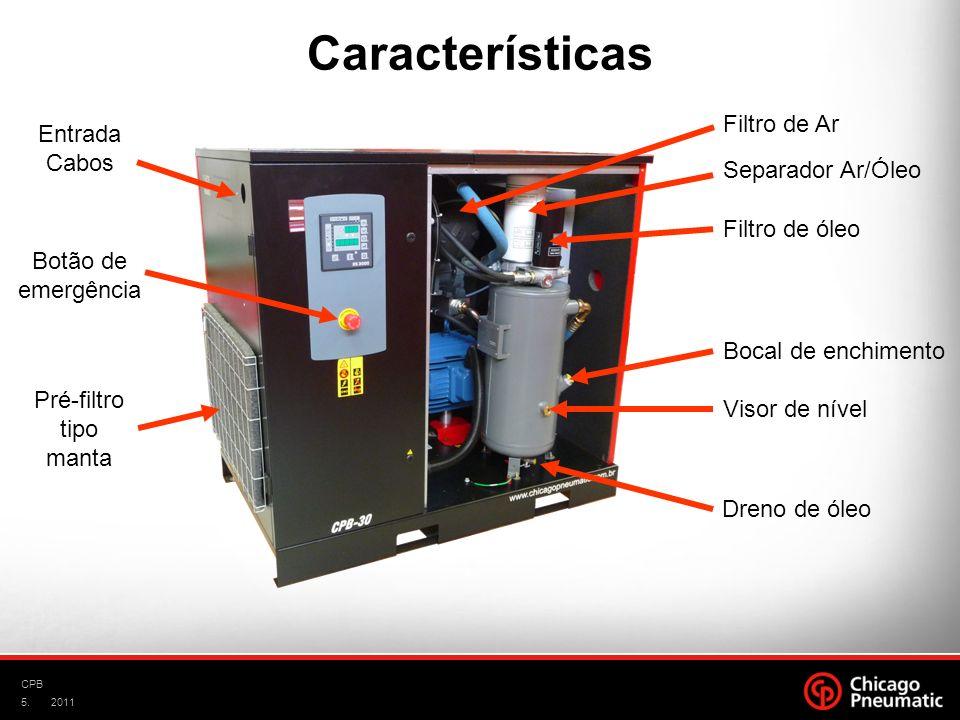 5. CPB 2011 Separador Ar/Óleo Filtro de Ar Filtro de óleo Dreno de óleo Bocal de enchimento Visor de nível Pré-filtro tipo manta Botão de emergência E