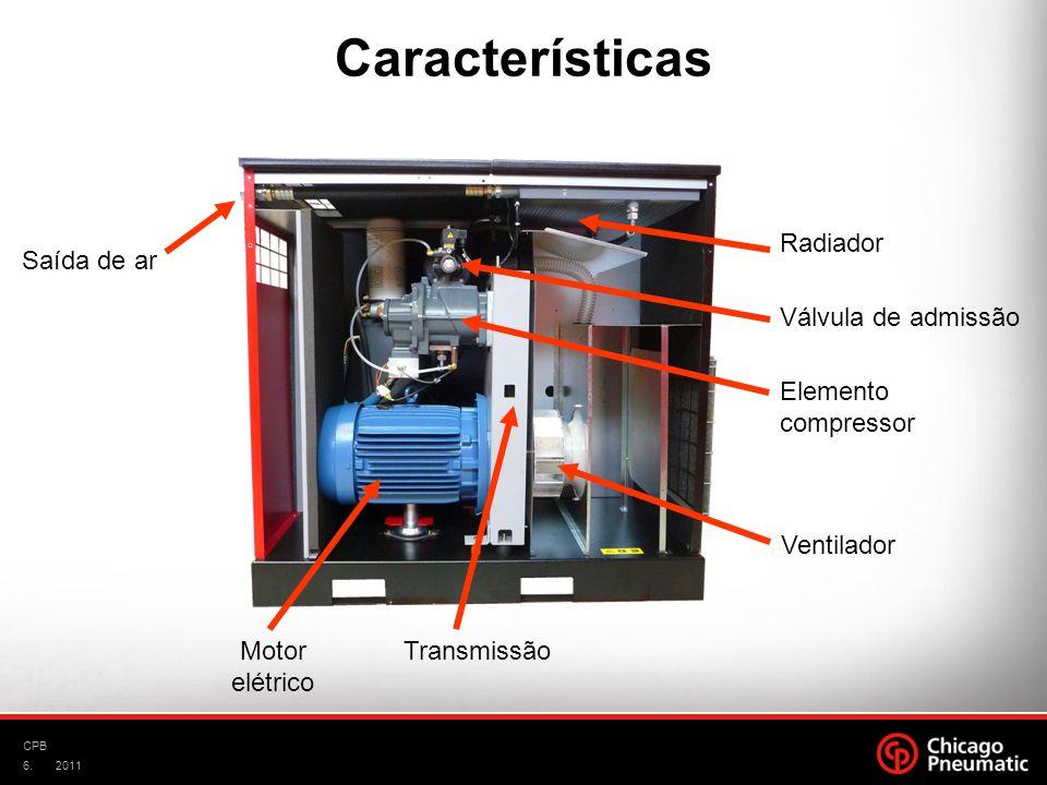 6. CPB 2011 Válvula de admissão Elemento compressor Ventilador Motor elétrico Transmissão Radiador Saída de ar Características