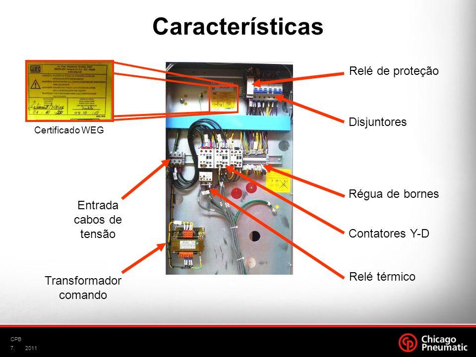 7. CPB 2011 Régua de bornes Contatores Y-D Relé térmico Transformador comando Entrada cabos de tensão Disjuntores Relé de proteção Características Cer