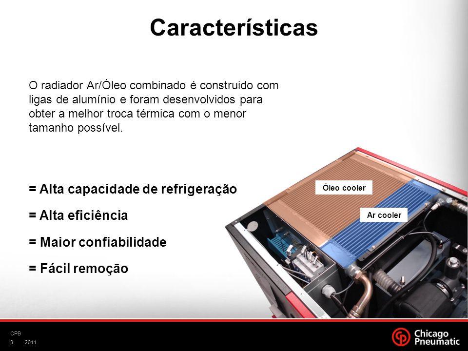 8. CPB 2011 O radiador Ar/Óleo combinado é construido com ligas de alumínio e foram desenvolvidos para obter a melhor troca térmica com o menor tamanh