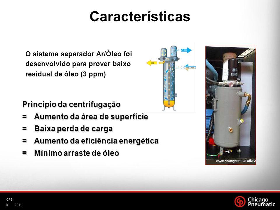 9. CPB 2011 Princípio da centrifugação =Aumento da área de superfície =Baixa perda de carga =Baixa perda de carga =Aumento da eficiência energética =M
