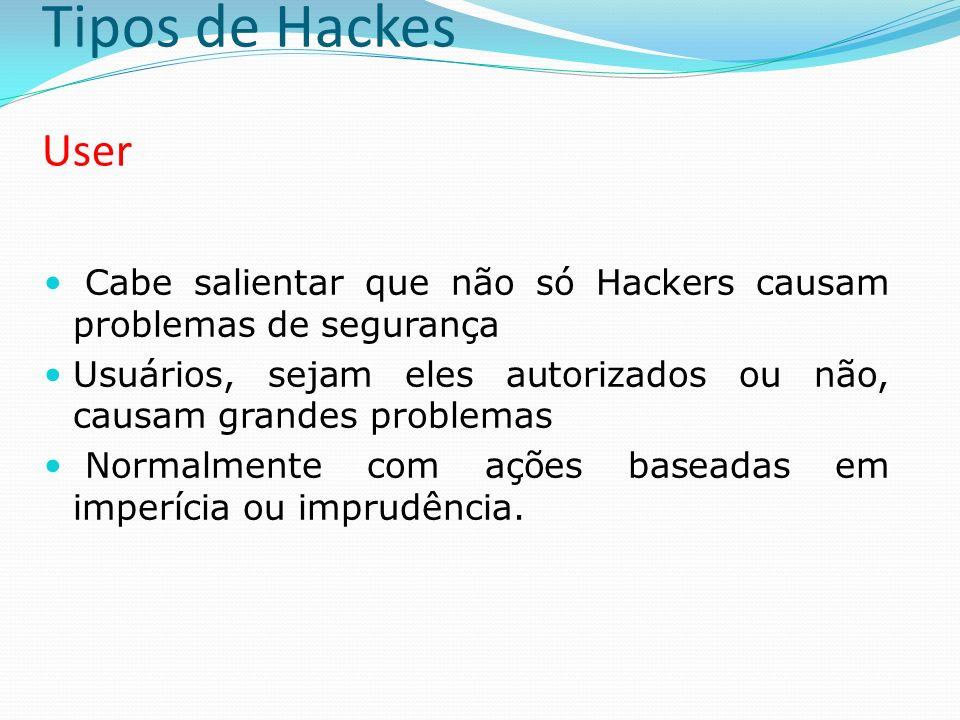 Tipos de Hackes User Cabe salientar que não só Hackers causam problemas de segurança Usuários, sejam eles autorizados ou não, causam grandes problemas