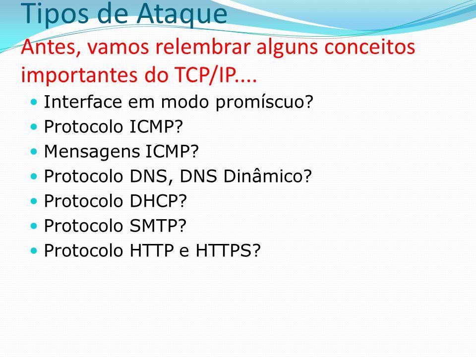 Tipos de Ataque Antes, vamos relembrar alguns conceitos importantes do TCP/IP.... Interface em modo promíscuo? Protocolo ICMP? Mensagens ICMP? Protoco