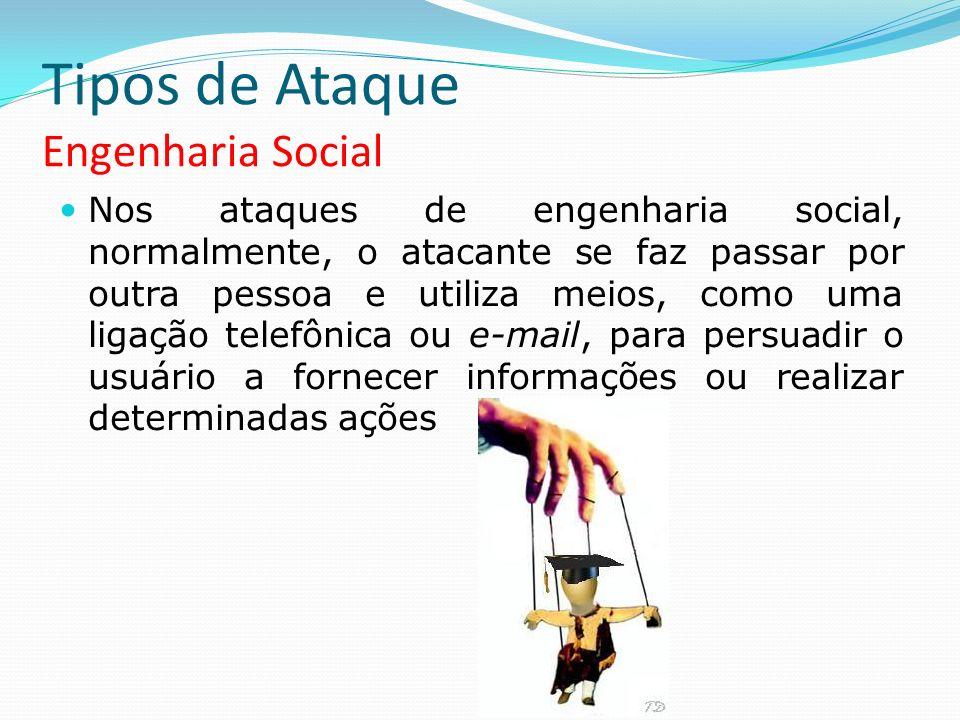 Tipos de Ataque Engenharia Social Nos ataques de engenharia social, normalmente, o atacante se faz passar por outra pessoa e utiliza meios, como uma l