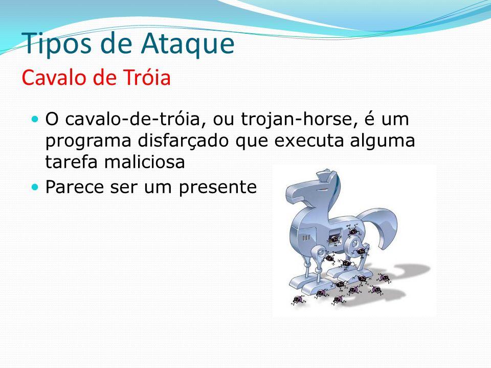 Tipos de Ataque Cavalo de Tróia O cavalo-de-tróia, ou trojan-horse, é um programa disfarçado que executa alguma tarefa maliciosa Parece ser um present