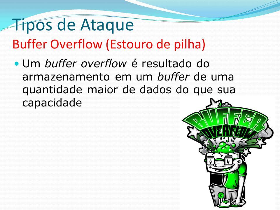 Tipos de Ataque Buffer Overflow (Estouro de pilha) Um buffer overflow é resultado do armazenamento em um buffer de uma quantidade maior de dados do qu