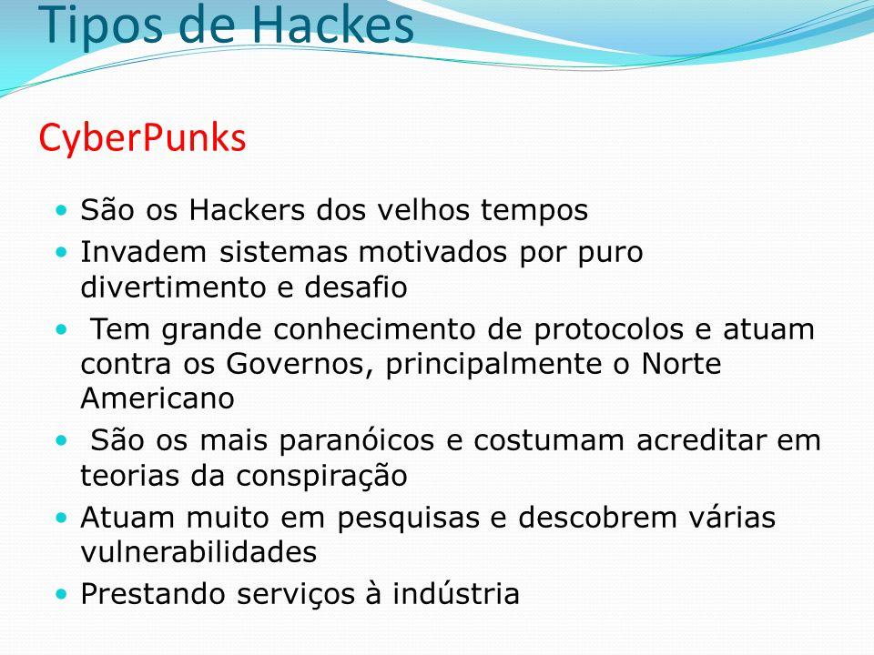 Tipos de Hackes Insiders São Hackers internos das organizações Responsáveis pelos incidentes de segurança mais graves nas empresas Os motivos são geralmente insatisfação com o salário, o trabalho, o chefe ou com a estratégia da empresa em algum campo Podem estar associados à subornos externos e espionagem industrial