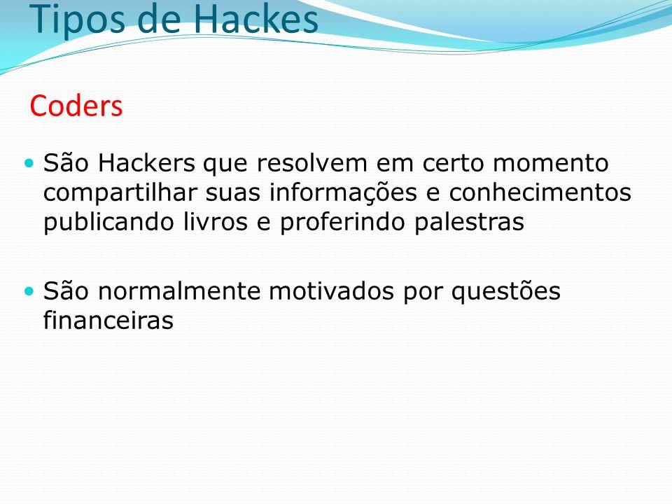 Tipos de Hackes Coders São Hackers que resolvem em certo momento compartilhar suas informações e conhecimentos publicando livros e proferindo palestra