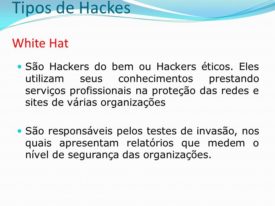 Tipos de Hackes White Hat São Hackers do bem ou Hackers éticos. Eles utilizam seus conhecimentos prestando serviços profissionais na proteção das rede