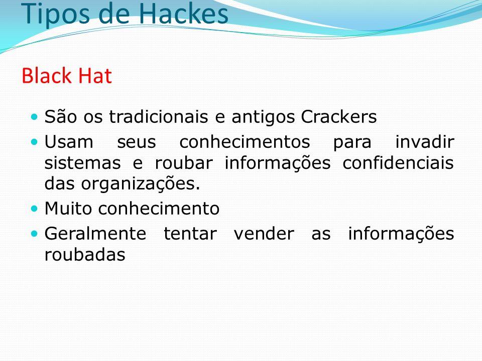 Tipos de Hackes Grey Hat São os Hackers que se fazem passar por White Hat´s para trabalharem na área de segurança Divulgam seus trabalhos como consultores de segurança Diferentemente dos White Hat´s, tem a cultura de Hacker muito forte tornando um risco sua contratação