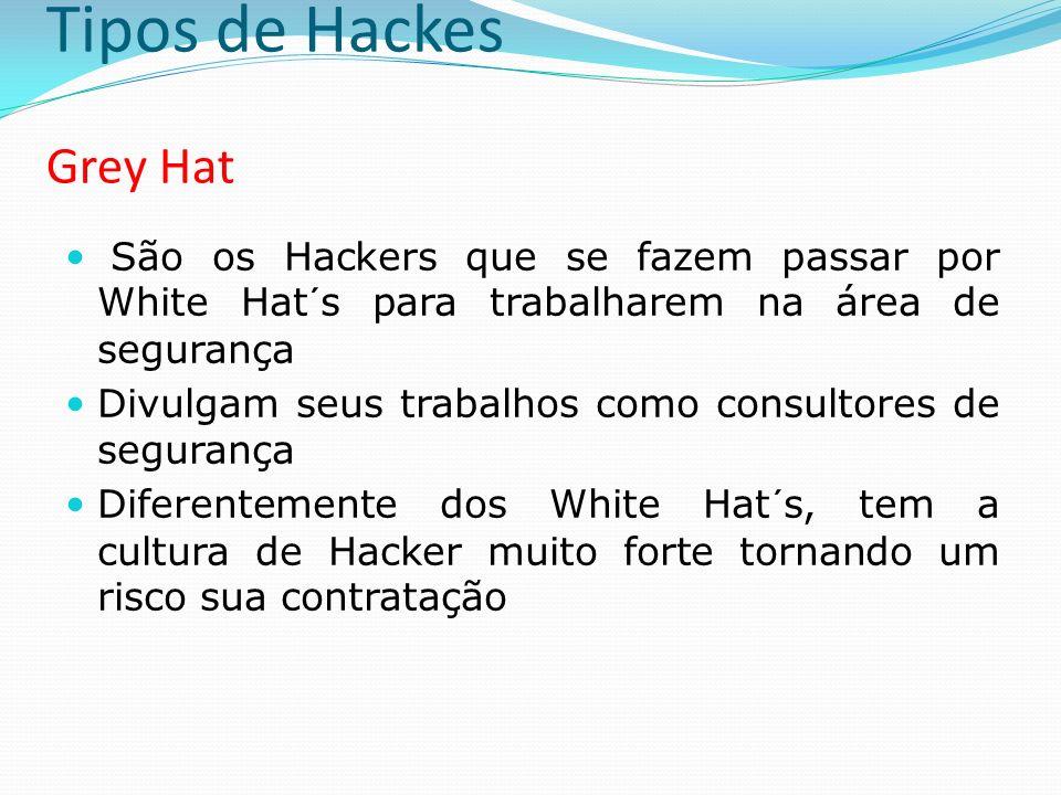 Tipos de Hackes Grey Hat São os Hackers que se fazem passar por White Hat´s para trabalharem na área de segurança Divulgam seus trabalhos como consult