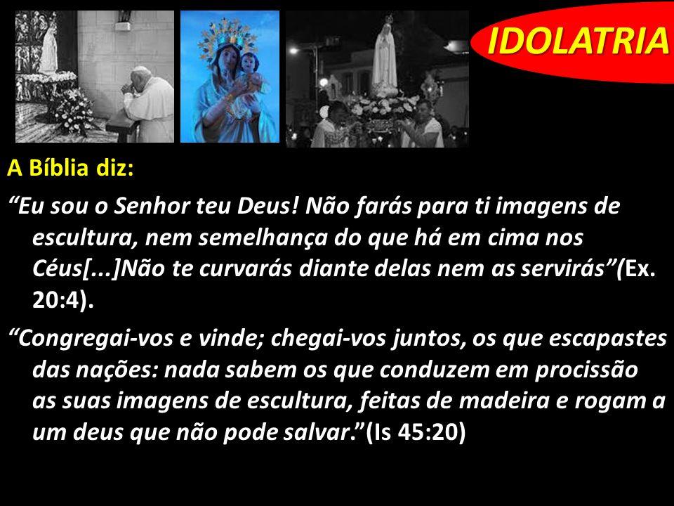 A Bíblia diz: Eu sou o Senhor teu Deus! Não farás para ti imagens de escultura, nem semelhança do que há em cima nos Céus[...]Não te curvarás diante d