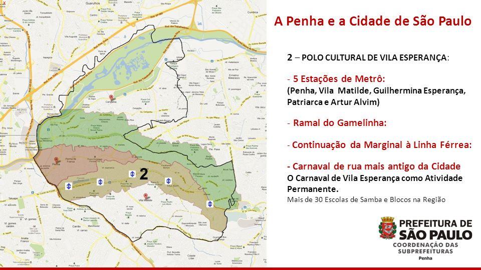 Cangaíba Penha Vila Matilde Artur Alvim 2 A Penha e a Cidade de São Paulo 2 – POLO CULTURAL DE VILA ESPERANÇA: - 5 Estações de Metrô: (Penha, Vila Mat