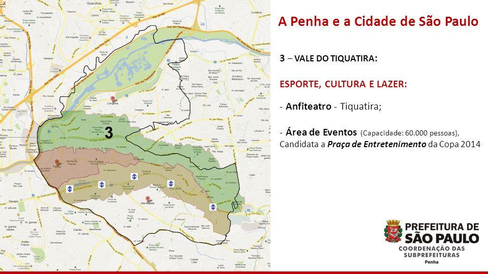 x 3 A Penha e a Cidade de São Paulo 3 – VALE DO TIQUATIRA : ESPORTE, CULTURA E LAZER: - Anfiteatro - Tiquatira; - Área de Eventos (Capacidade: 60.000
