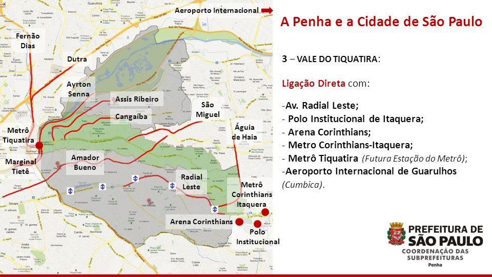 x A Penha e a Cidade de São Paulo 3 – VALE DO TIQUATIRA : Ligação Direta com: -Av. Radial Leste; - Polo Institucional de Itaquera; - Arena Corinthians