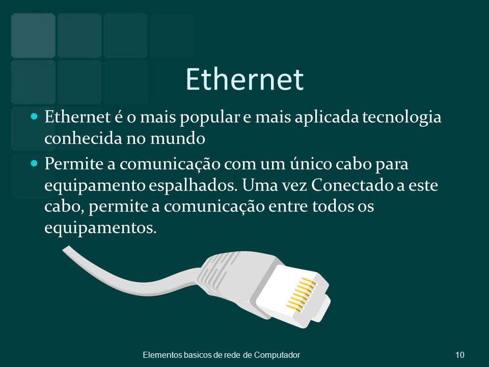 Ethernet Ethernet é o mais popular e mais aplicada tecnologia conhecida no mundo Permite a comunicação com um único cabo para equipamento espalhados.