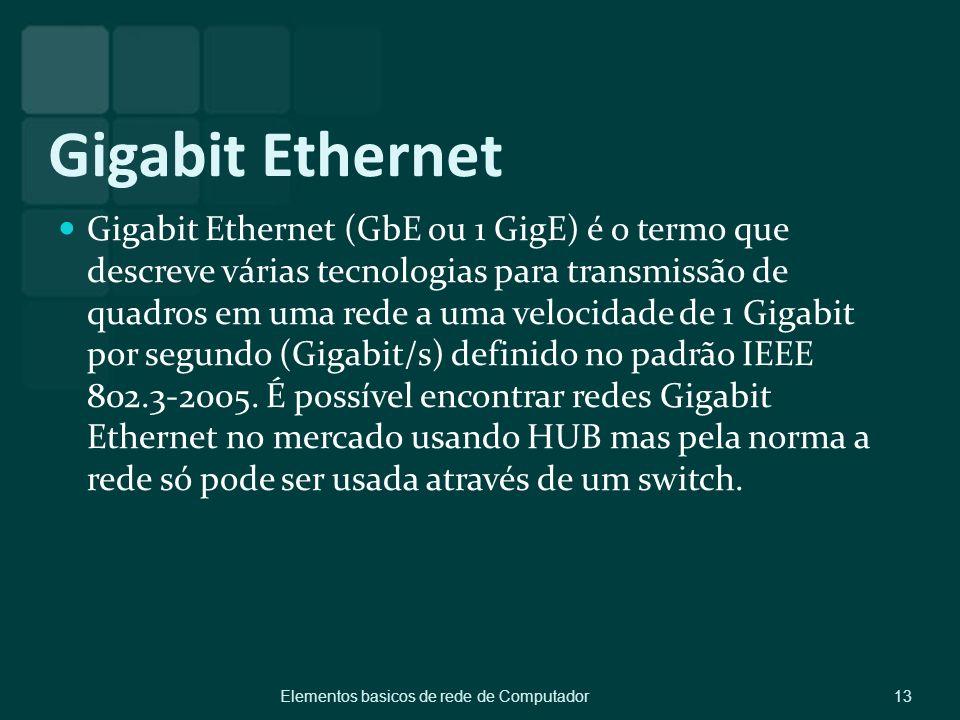 Gigabit Ethernet Gigabit Ethernet (GbE ou 1 GigE) é o termo que descreve várias tecnologias para transmissão de quadros em uma rede a uma velocidade d