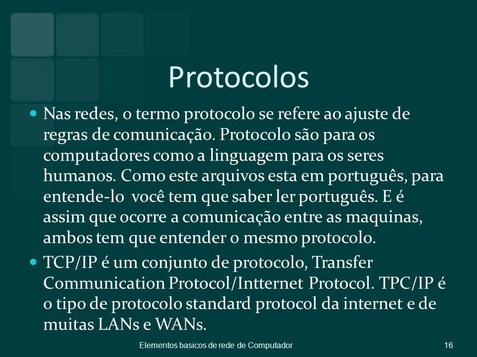 Protocolos Nas redes, o termo protocolo se refere ao ajuste de regras de comunicação. Protocolo são para os computadores como a linguagem para os sere