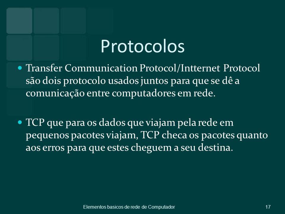 Protocolos Transfer Communication Protocol/Intternet Protocol são dois protocolo usados juntos para que se dê a comunicação entre computadores em rede