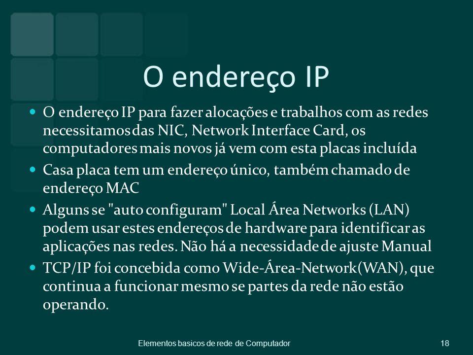 O endereço IP O endereço IP para fazer alocações e trabalhos com as redes necessitamos das NIC, Network Interface Card, os computadores mais novos já