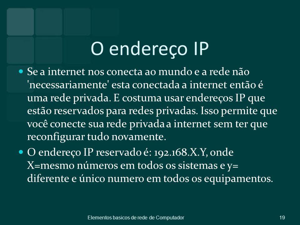 O endereço IP Se a internet nos conecta ao mundo e a rede não 'necessariamente' esta conectada a internet então é uma rede privada. E costuma usar end