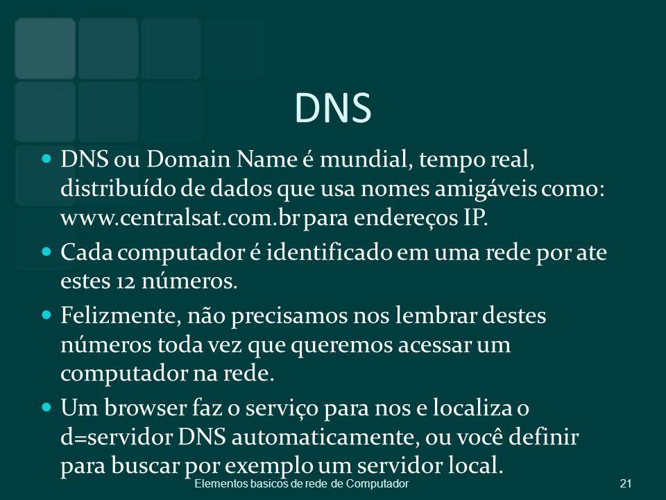 DNS DNS ou Domain Name é mundial, tempo real, distribuído de dados que usa nomes amigáveis como: www.centralsat.com.br para endereços IP. Cada computa