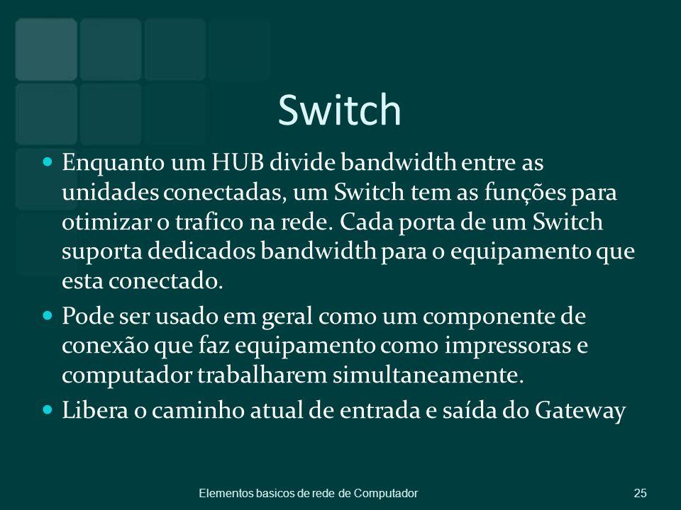 Switch Enquanto um HUB divide bandwidth entre as unidades conectadas, um Switch tem as funções para otimizar o trafico na rede. Cada porta de um Switc