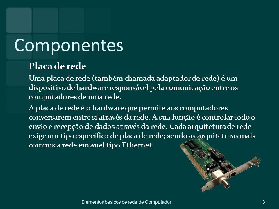 Componentes Placa de rede Uma placa de rede (também chamada adaptador de rede) é um dispositivo de hardware responsável pela comunicação entre os comp