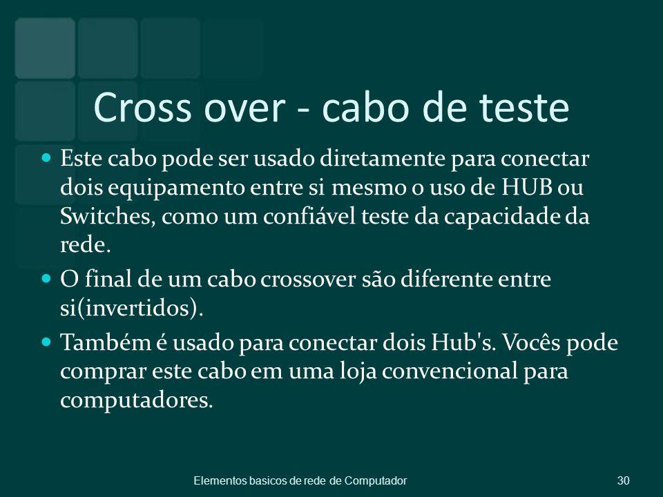 Cross over - cabo de teste Este cabo pode ser usado diretamente para conectar dois equipamento entre si mesmo o uso de HUB ou Switches, como um confiá