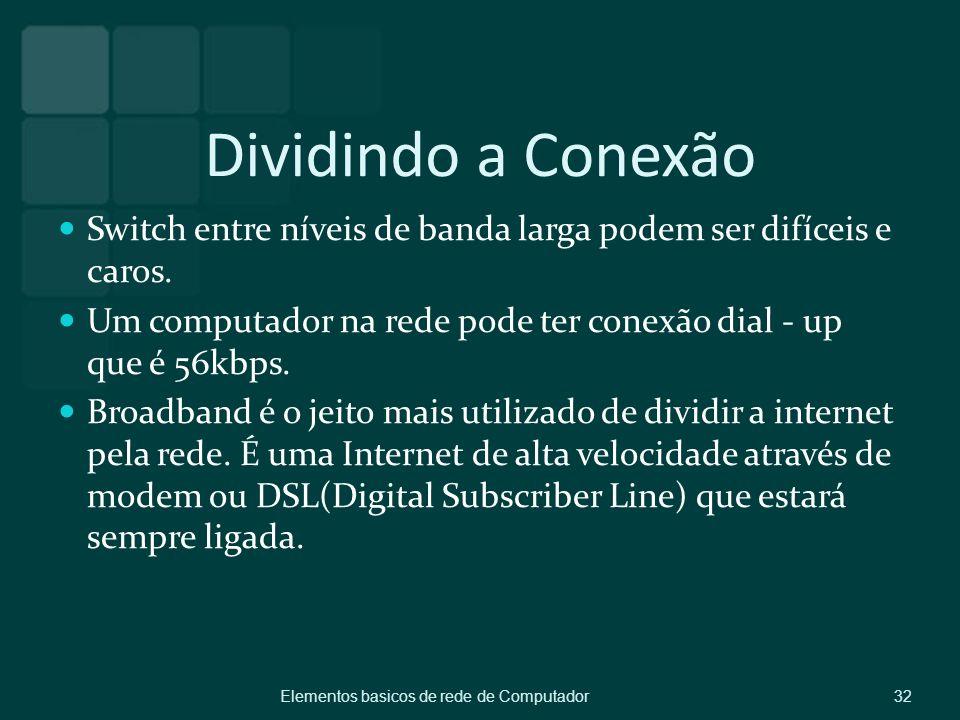 Dividindo a Conexão Switch entre níveis de banda larga podem ser difíceis e caros. Um computador na rede pode ter conexão dial - up que é 56kbps. Broa