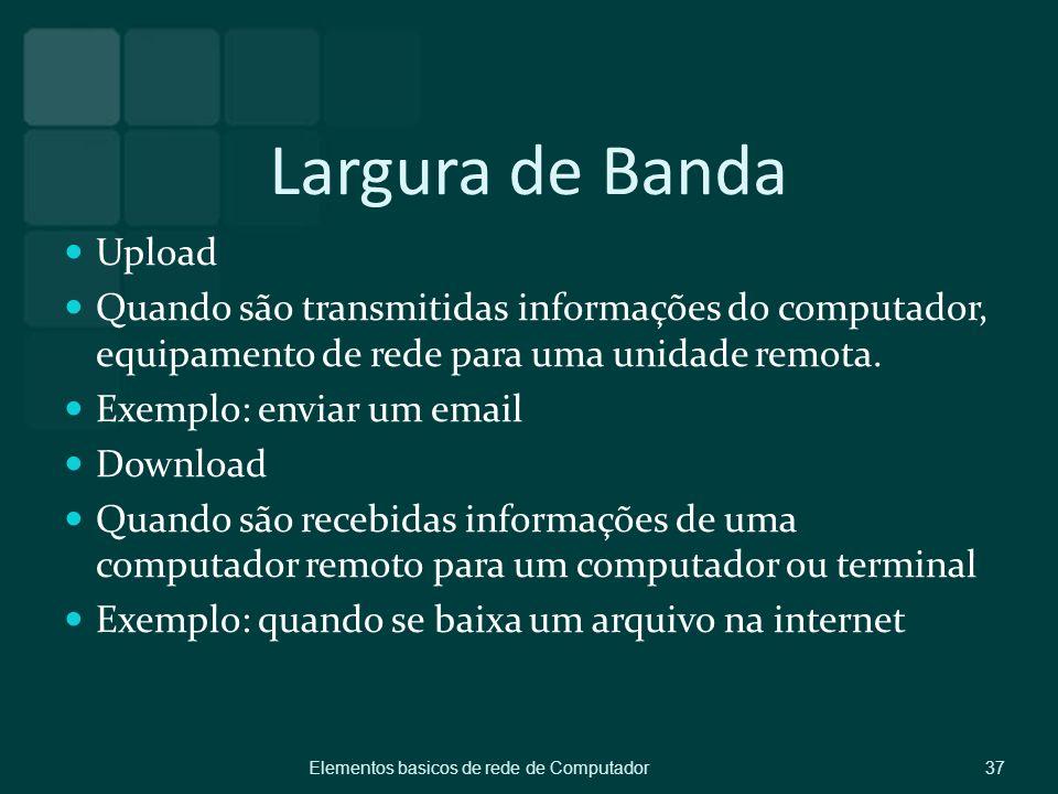 Largura de Banda Upload Quando são transmitidas informações do computador, equipamento de rede para uma unidade remota. Exemplo: enviar um email Downl