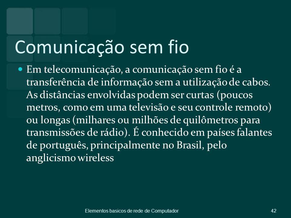 Comunicação sem fio Em telecomunicação, a comunicação sem fio é a transferência de informação sem a utilização de cabos. As distâncias envolvidas pode