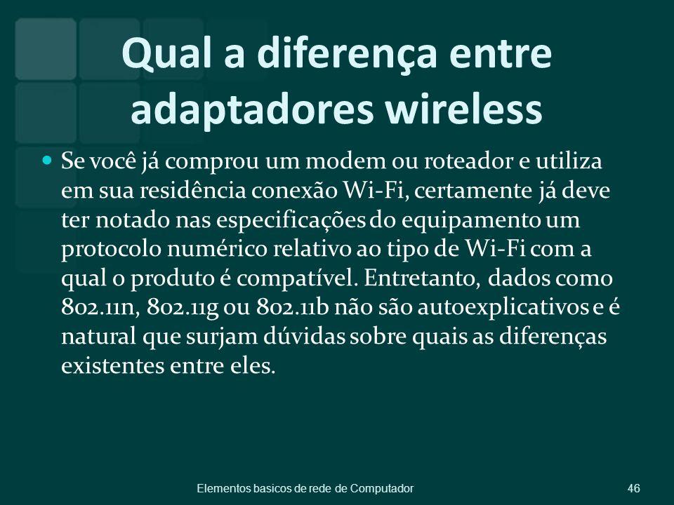Qual a diferença entre adaptadores wireless Se você já comprou um modem ou roteador e utiliza em sua residência conexão Wi-Fi, certamente já deve ter