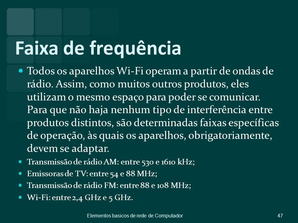 Faixa de frequência Todos os aparelhos Wi-Fi operam a partir de ondas de rádio. Assim, como muitos outros produtos, eles utilizam o mesmo espaço para