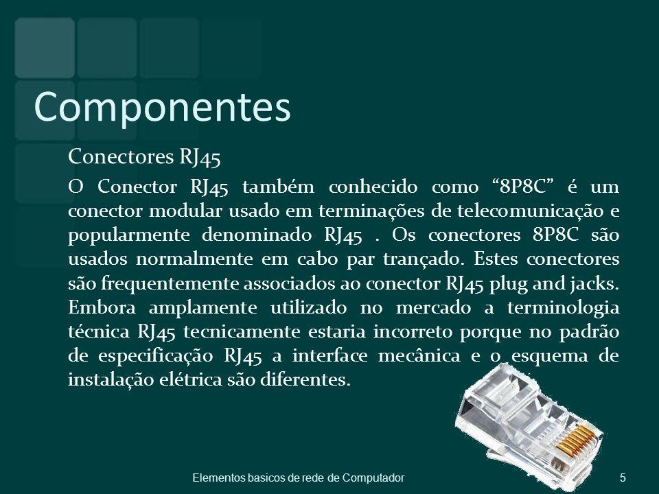 Componentes Conectores RJ45 O Conector RJ45 também conhecido como 8P8C é um conector modular usado em terminações de telecomunicação e popularmente de