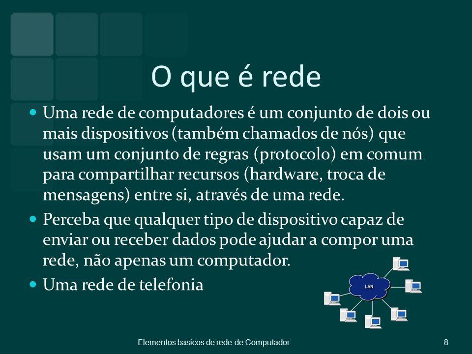 O que é rede Uma rede de computadores é um conjunto de dois ou mais dispositivos (também chamados de nós) que usam um conjunto de regras (protocolo) e