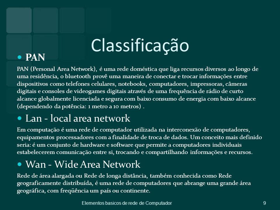 Classificação PAN PAN (Personal Area Network), é uma rede doméstica que liga recursos diversos ao longo de uma residência, o bluetooth provê uma manei