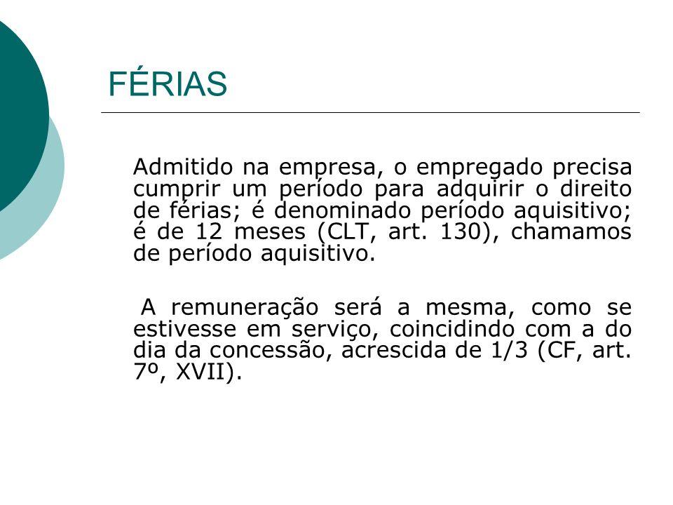 FÉRIAS Admitido na empresa, o empregado precisa cumprir um período para adquirir o direito de férias; é denominado período aquisitivo; é de 12 meses (CLT, art.