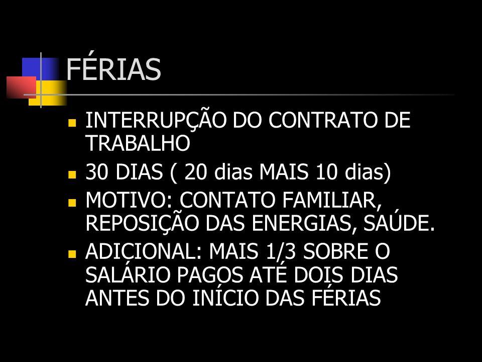 FÉRIAS – INTERRUPÇÃO DO CONTRATO DE TRABALHO PERÍODO AQUISITIVO – PERÍODO DE 12 MESES TRABALHADOS PELO EMPREGADO PERÍODO CONCESSIVO – PERÍODO DE 12 MESES SUBSEQÜENTES PARA O EMPREGADOR CONCEDER AS FÉRIS DEVIDAS