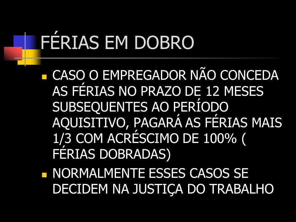 PERDA DO DIREITO DE FÉRIAS DEIXAR O EMPREGO E NÃO FOR READMITO EM 60 DIAS LICENÇA, SEM SALÁRIOS POR MAIS DE 30 DIAS 30 DIAS SEM TRABALHAR POR PARALIZAÇÃO TOTAL OU PARCIAL DOS SERVIÇOS DA EMPRESA 6 MESES AFASTADOS PELO INSS (CONTÍNUOS OU NÃO)
