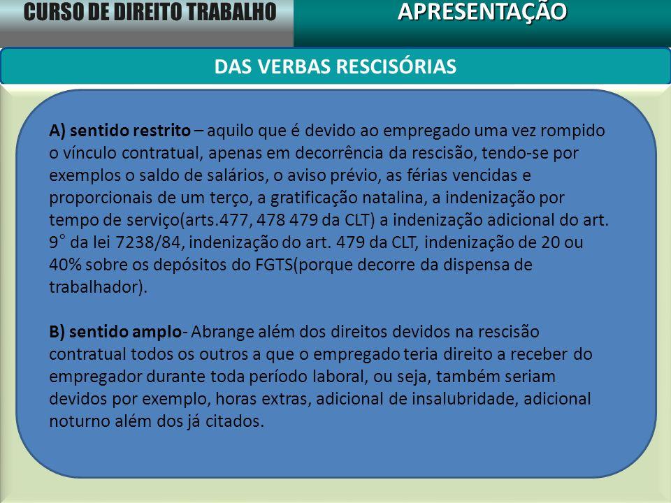 CURSO DE DIREITO TRABALHO APRESENTAÇÃOAPRESENTAÇÃO DAS VERBAS RESCISÓRIAS A) sentido restrito – aquilo que é devido ao empregado uma vez rompido o vín