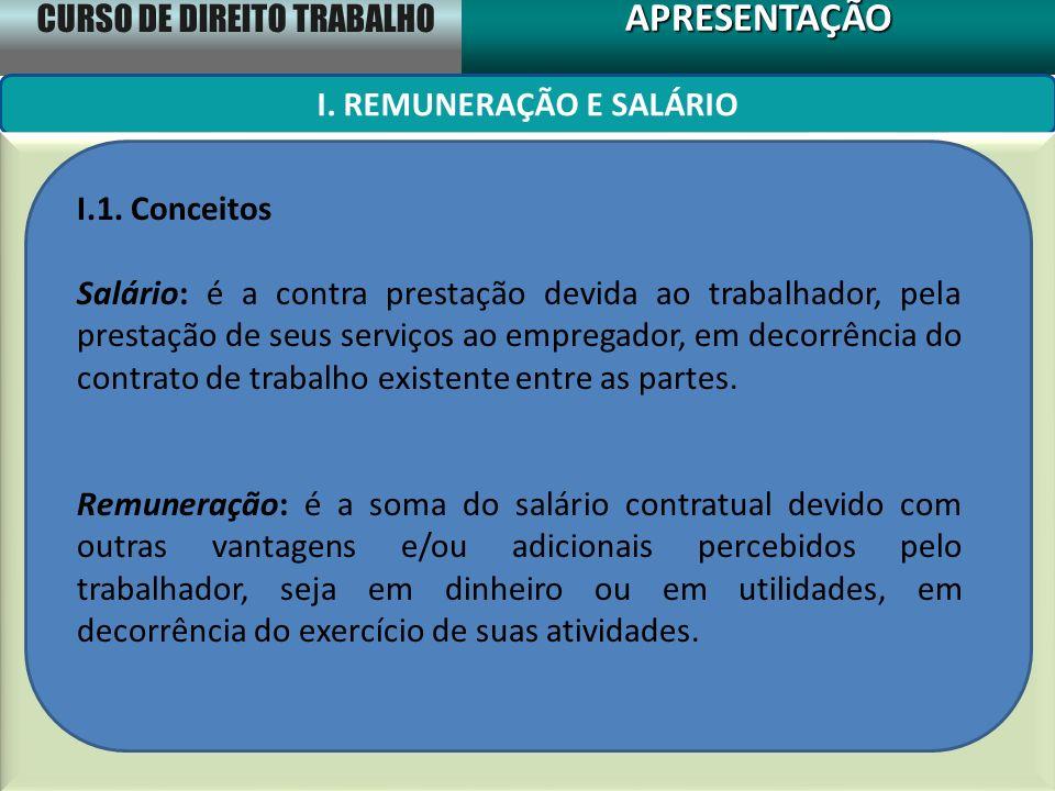 CURSO DE DIREITO TRABALHO APRESENTAÇÃOAPRESENTAÇÃO I. REMUNERAÇÃO E SALÁRIO I.1. Conceitos Salário: é a contra prestação devida ao trabalhador, pela p