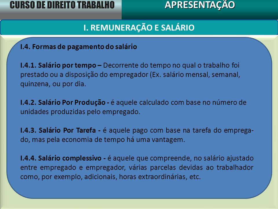 CURSO DE DIREITO TRABALHO APRESENTAÇÃOAPRESENTAÇÃO I. REMUNERAÇÃO E SALÁRIO I.4. Formas de pagamento do salário I.4.1. Salário por tempo – Decorrente