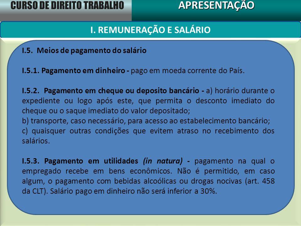 CURSO DE DIREITO TRABALHO APRESENTAÇÃOAPRESENTAÇÃO I. REMUNERAÇÃO E SALÁRIO I.5. Meios de pagamento do salário I.5.1. Pagamento em dinheiro - pago em