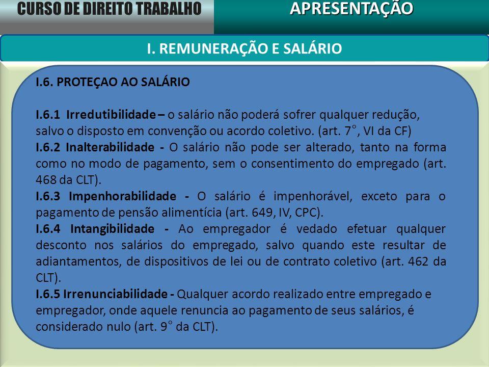 CURSO DE DIREITO TRABALHO APRESENTAÇÃOAPRESENTAÇÃO I. REMUNERAÇÃO E SALÁRIO I.6. PROTEÇAO AO SALÁRIO I.6.1 Irredutibilidade – o salário não poderá sof