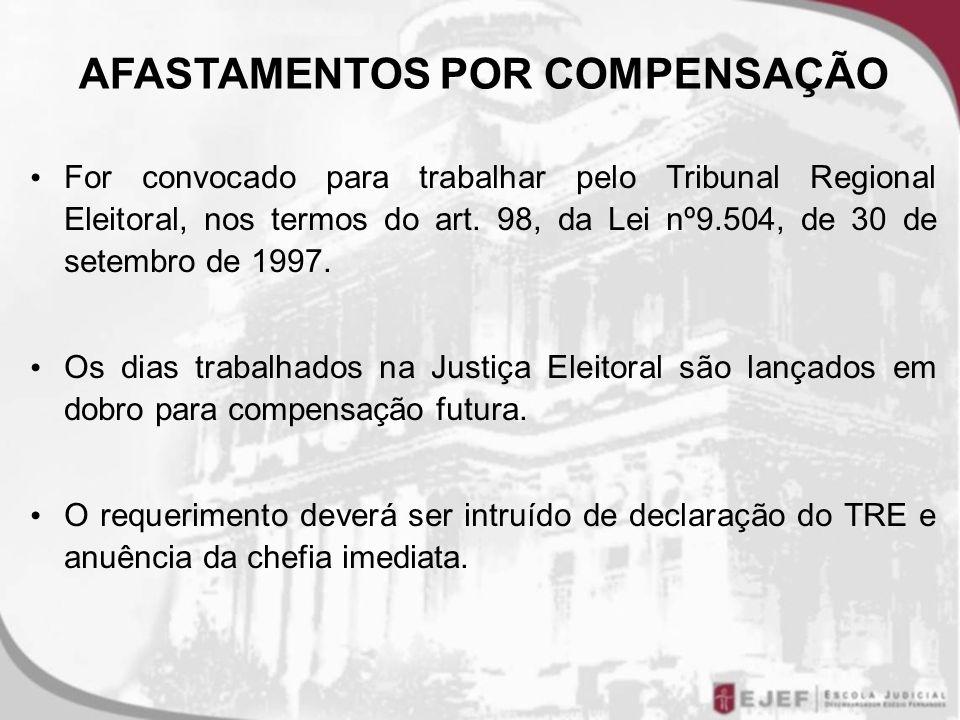 For convocado para trabalhar pelo Tribunal Regional Eleitoral, nos termos do art. 98, da Lei nº9.504, de 30 de setembro de 1997. Os dias trabalhados n