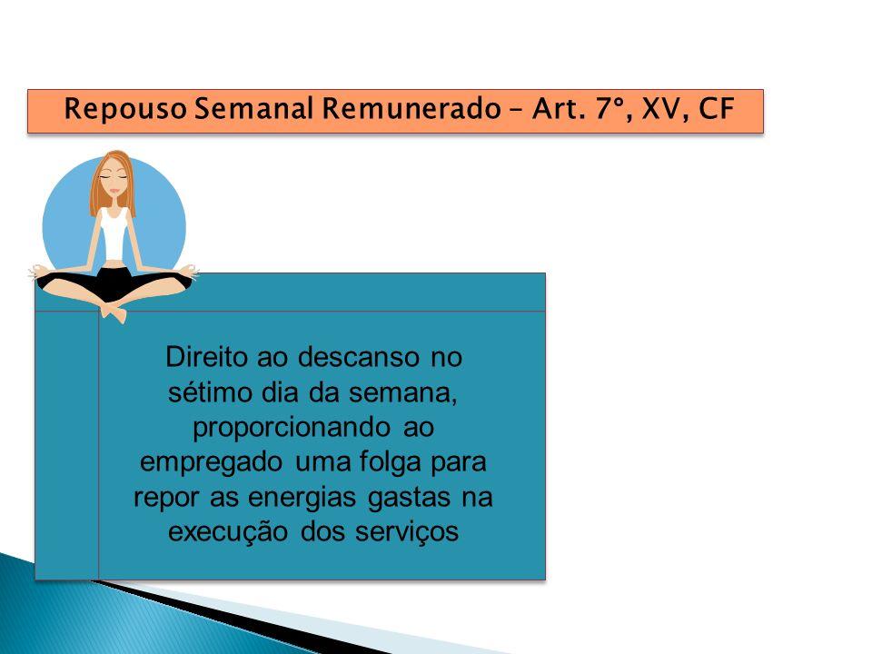 Repouso Semanal Remunerado – Art. 7°, XV, CF Direito ao descanso no sétimo dia da semana, proporcionando ao empregado uma folga para repor as energias